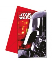 INVITACIONES STAR WARS DARTH VADER 6 UNIDADES CON SOBRE