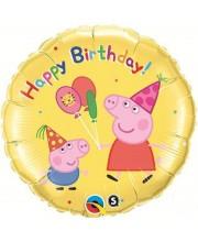 GLOBO DE HELIO PEPPA PIG HAPPY BIRTHDAY AMARILLO