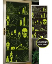 DECO PARED ESTANTERIAS CON CALAVERAS FLUOR