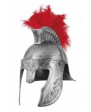 CASCO ROMANO CENTURION PLATEADO PLUMAS ROJAS