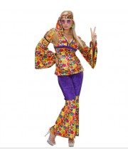 DISFRAZ DE HIPPIE FLOWER POWER PANTALON