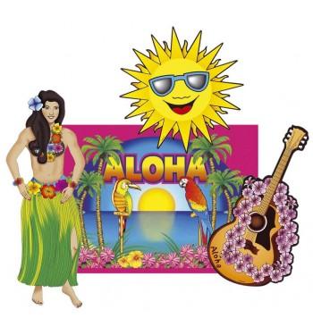 SET 4 DECORACIONES HAWAIANOS